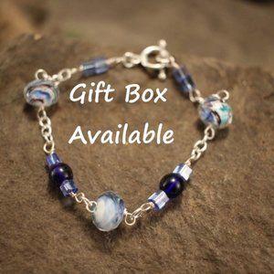 BOHO Marble Blue and Silver Bracelet